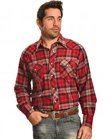 Wrangler Men's Red Plaid Flannel Western Shirt