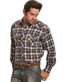 Wrangler Men's Navy and Olive Plaid Flannel Western Shirt