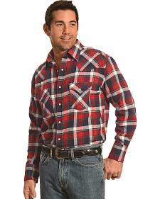 Ely Cattleman Men's Red Plaid Flannel Snap Western Shirt