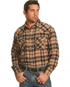 Ely Cattleman Men's Brown Plaid Flannel Western Snap Shirt