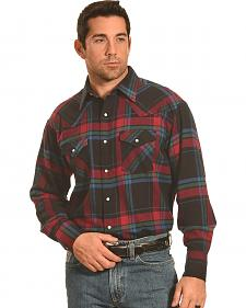 Ely Cattleman Men's Red and Green Plaid Flannel Western Snap Shirt