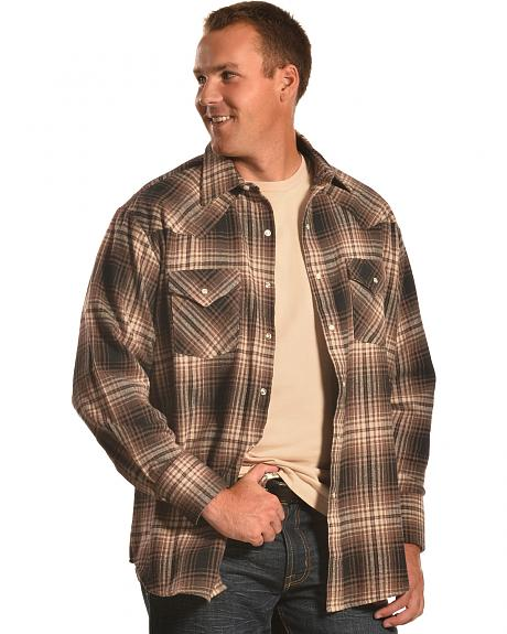 Ely Cattleman Brown Plaid Brawny Flannel Snap Shirt