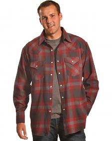 Ely Cattleman Burgundy Plaid Brawny Flannel Snap Shirt
