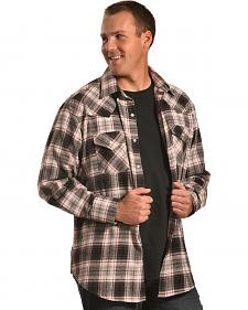 Ely Cattleman Grey Plaid Brawny Flannel Snap Shirt