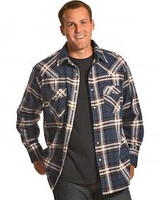 Ely Cattleman Blue Plaid Brawny Flannel Snap Shirt