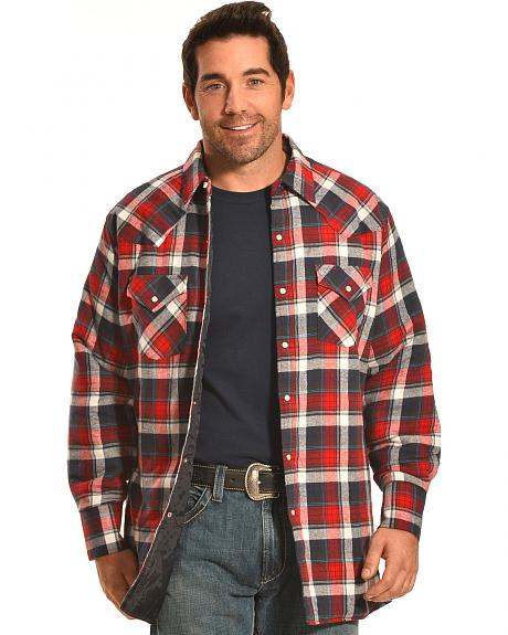 Ely Cattleman Men's Red Plaid Quilted Flannel Jacket Shirt