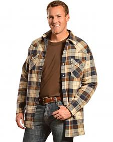 Ely Cattleman Men's Brown Plaid Quilted Flannel Jacket Shirt