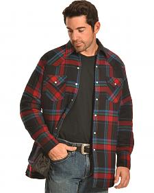Ely Cattleman Men's Black & Red Plaid Quilted Flannel Jacket Shirt