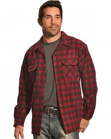 Pendleton Men's Dark Red Wool Plaid Board Shirt