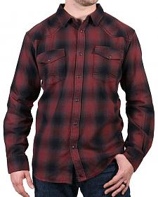 Cody James Men's Washed Out Maroon Plaid Flannel Shirt