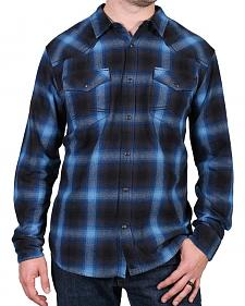 Cody James Men's Washed Out Blue Plaid Flannel Shirt