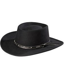 Stetson Black Hawk Crushable Wool Gambler Hat