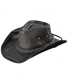 Bullhide Men's Black Melbourne Leather Hat