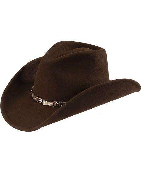 Scala Elongated Concho Wool Felt Cowboy Hat