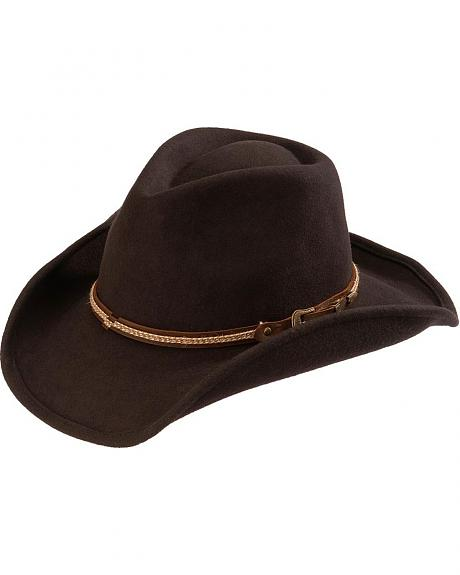 Scala Rope & Leather Hat Band Wool Felt Cowboy Hat