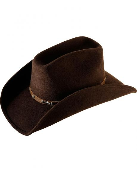 Scala Faux Leather Hat Band Wool Felt Hat