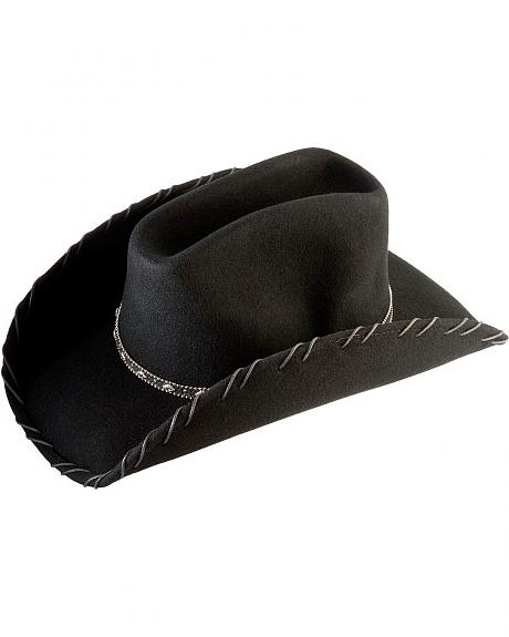 Scala Black Whipstitched Wool Felt Cowboy Hat