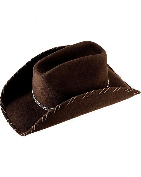 Scala Brown Whipstitched Wool Felt Cowboy Hat