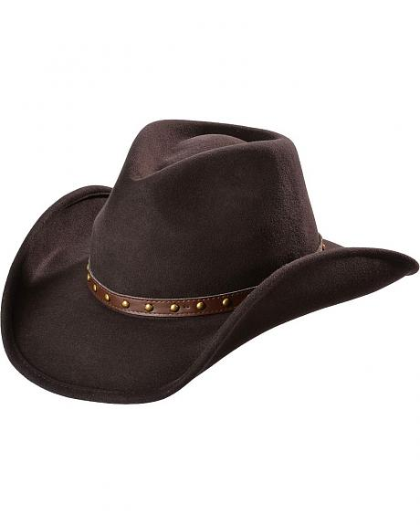 Scala Chocolate Crushable Wool Felt Cowboy Hat