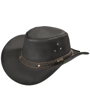Outback Trading Co. Black Wagga Wagga UPF50 Sun Protection Leather Hat
