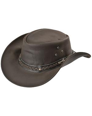 Outback Trading Co. Chocolate Wagga Wagga UPF50 Sun Protection Leather Hat