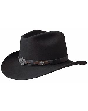 Harley Davidson Leather Overlay & Concho Wool Felt Crushable Cowboy Hat