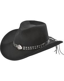 Harley Davidson Logo Concho Bend-A-Brim Wool Felt Crushable Cowboy Hat