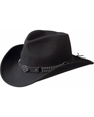 Harley Davidson Chain Band Bend-A-Brim Wool Felt Crushable Cowboy Hat