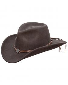 Jack Daniel's Twisted Leather Bend-A-Brim Wool Felt Crushable Cowboy Hat