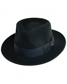 Scala Fashion Black Wool Felt Fedora Hat