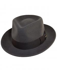 Scala Fashion Gray Wool Felt with Grosgrain Trim Fedora Hat