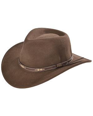 Scala Khaki Wool Felt Leather Band Outback Hat