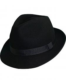 Scala Fashion Black Wool Felt with Grosgrain Trim Fedora Hat