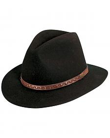 Scala Men's Black Wool Felt with Leather Trim Safari Hat