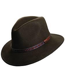Scala Men's Olive Wool Felt with Leather Trim Safari Hat