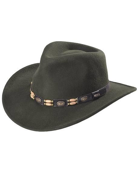 Scala Olive Wool Felt Concho Band Outback Hat