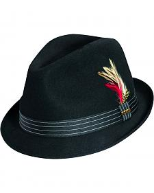 Scala Fashion Feather & Pinstripe Trim Wool Felt Fedora Hat