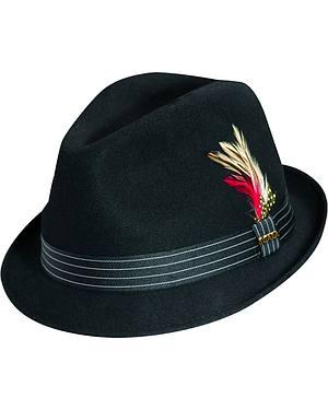 Scala Fashion Feather & Pinstripe Trim Wool Felt Fedora Hat