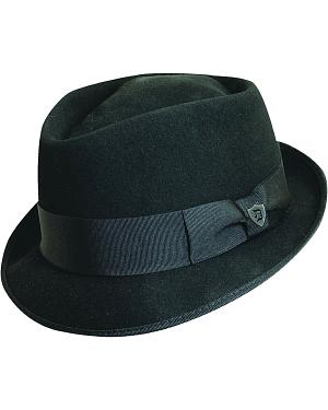 Dorfman Pacific Diamond Crown Black Wool Felt Fedora Hat