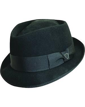 Dorfman Pacific Diamond Crown Black Wool Felt Fedora Hat