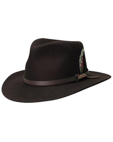 Scala Men's Chocolate Brown Crushable Wool Felt Outback Hat