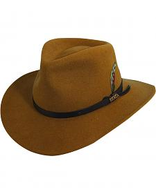 Scala Men's Pecan Brown Crushable Wool Felt Outback Hat