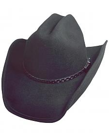 Scala Black Crushable Wool Cowboy Hat