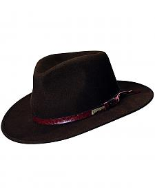 Indiana Jones Brown Leather Trim Wool Felt Fedora Hat
