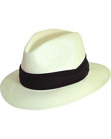 Scala Natural Toyo with Pleated Trim Fedora Hat