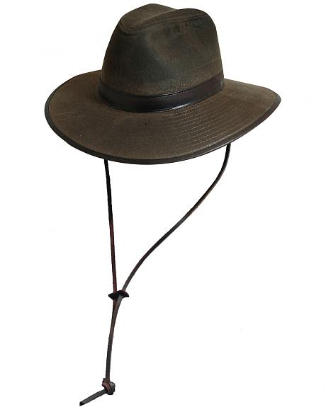 Scala Men's Olive Brown Oil Cloth with Leather Chin Cord Hat