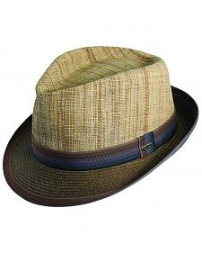 Scala Men's Brown Raffia & Paper Braid Fedora Hat