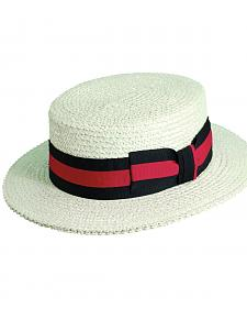 Scala Men's White Straw with Ribbon Trim Boater Hat