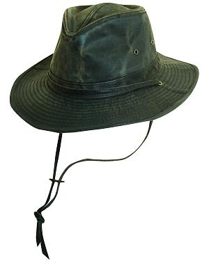 Scala Brown Weathered Cotton with Chin Cord Outback Hat