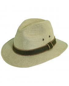 Dorfman Pacific Camel Hemp with Leather Trim Safari Hat